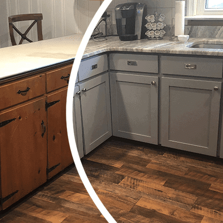 Refacing cabinets after and before