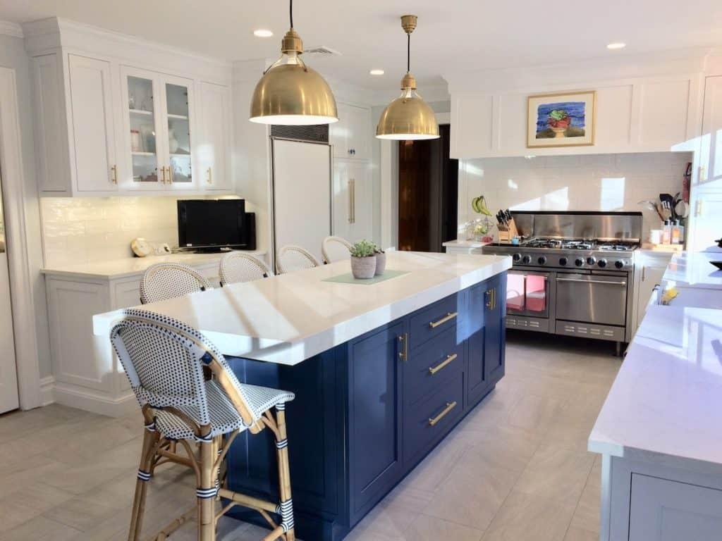 modern white and gray kitchen tile flooring