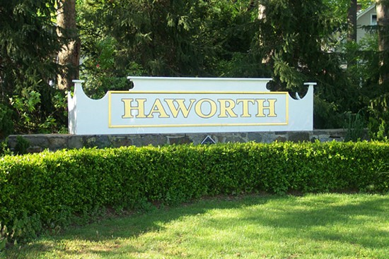 Official town sign for Haworth New Jersey