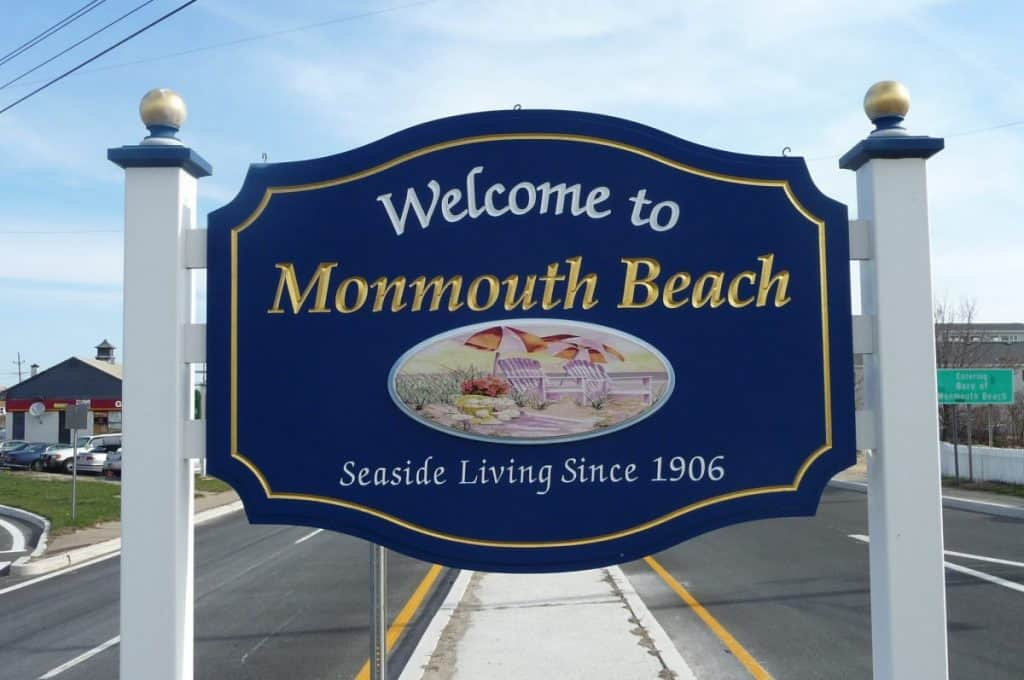 Town sign of Monmouth Beach