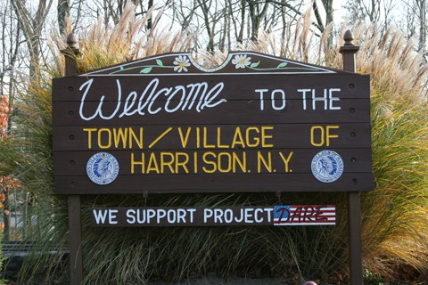 Town sign of Harrison