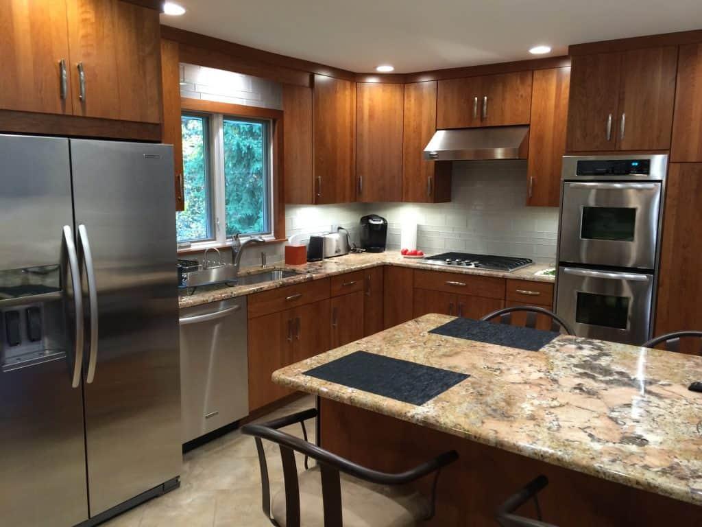 Granite Countertops with Dark Wood Cabinets