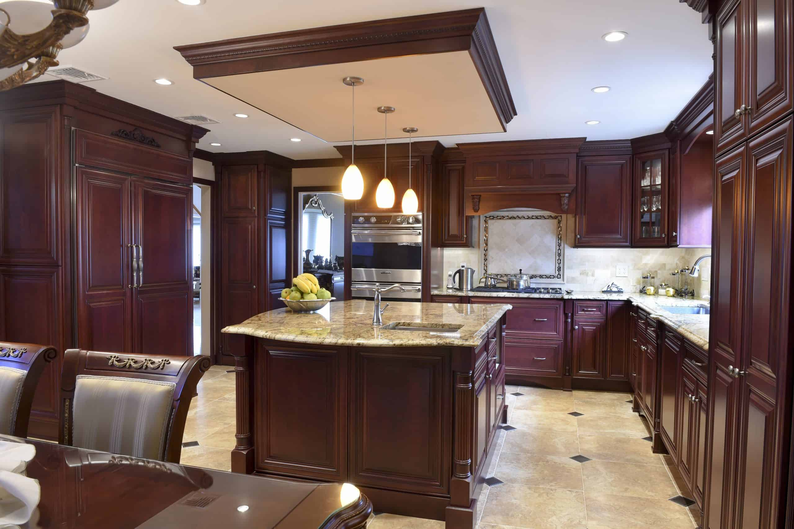 Neutral Countertop with Cherry Cabinet Colors