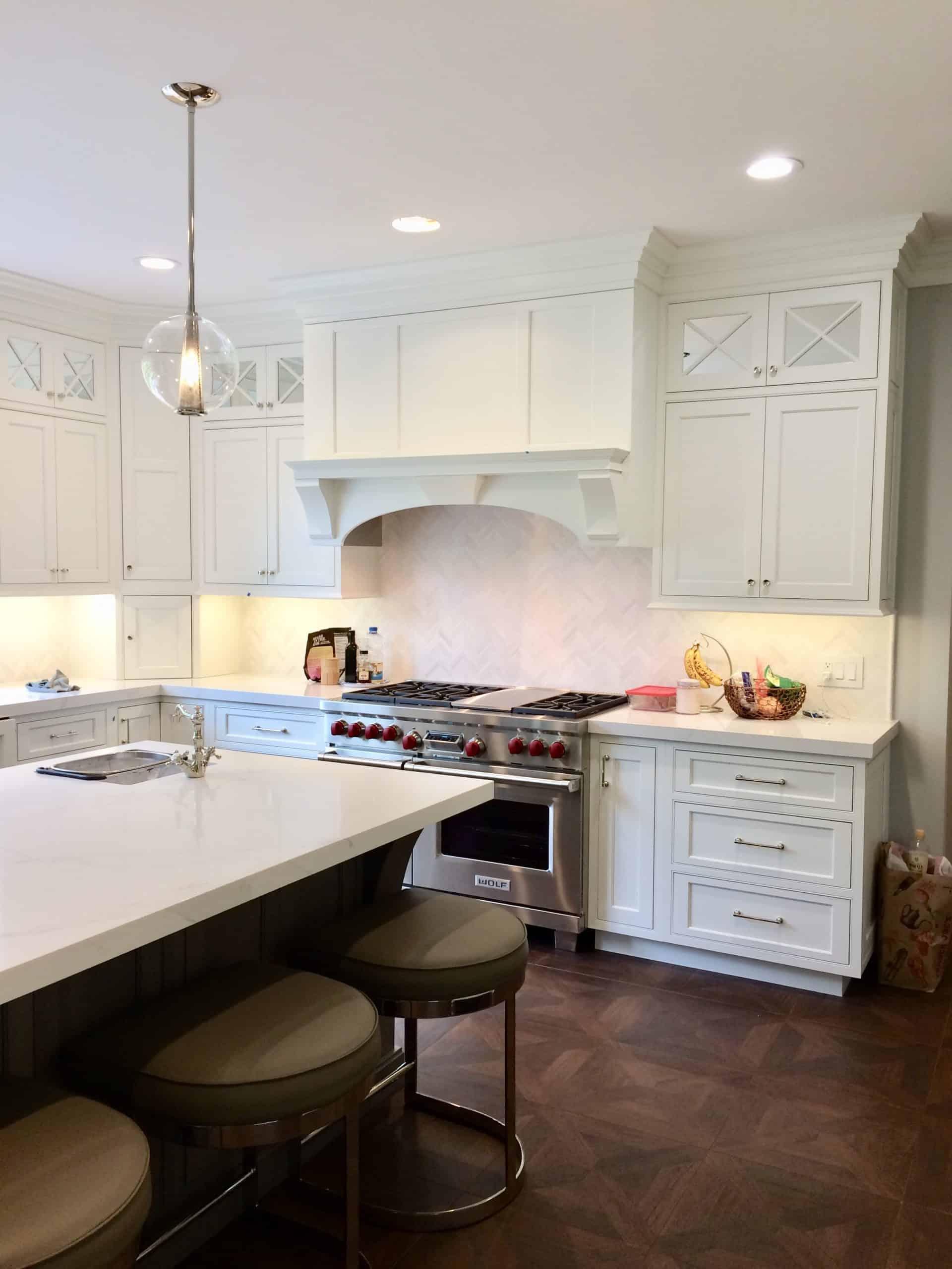 Marble backsplash in kitchen