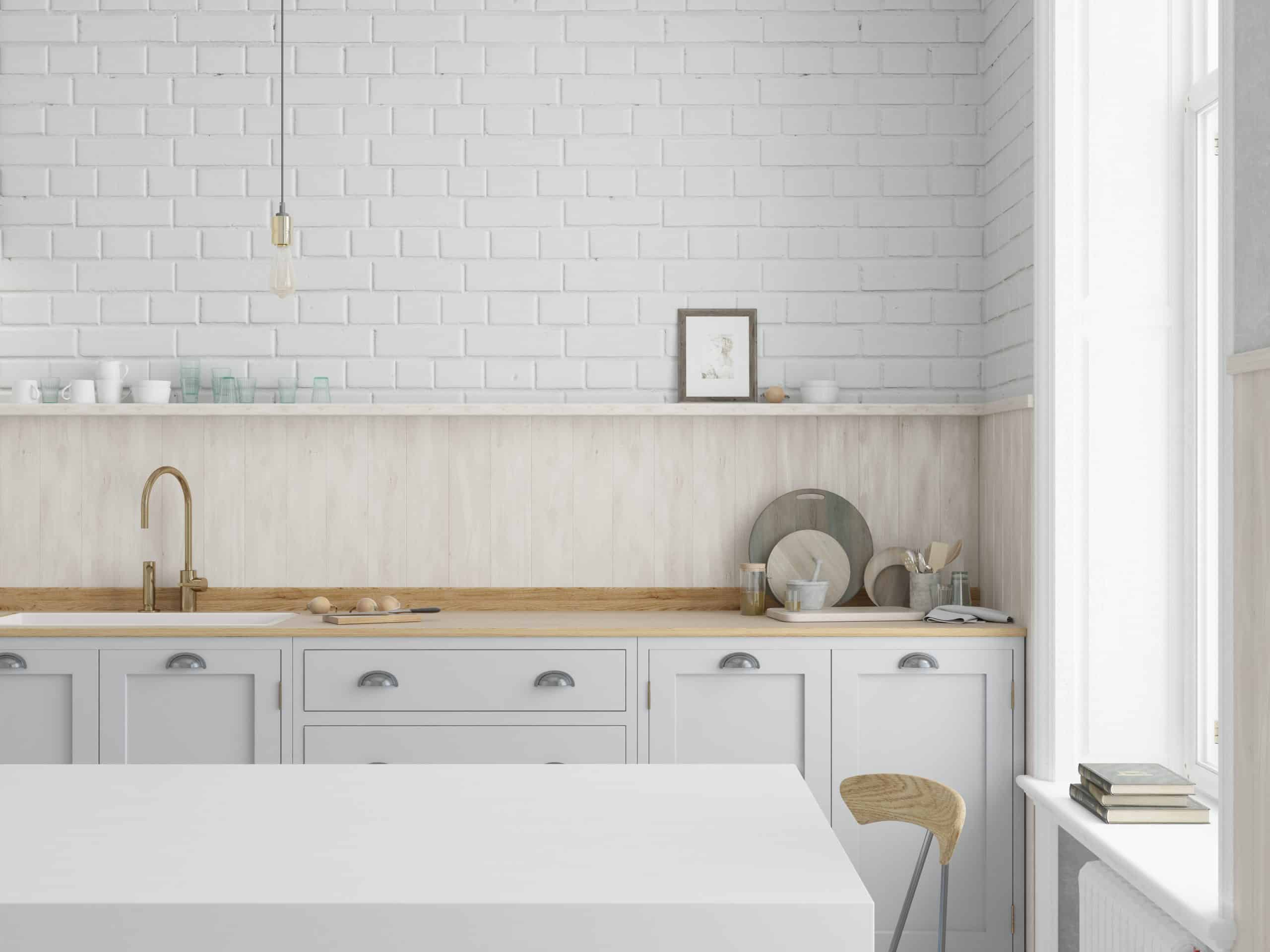 Wooden backsplah in the kitchen