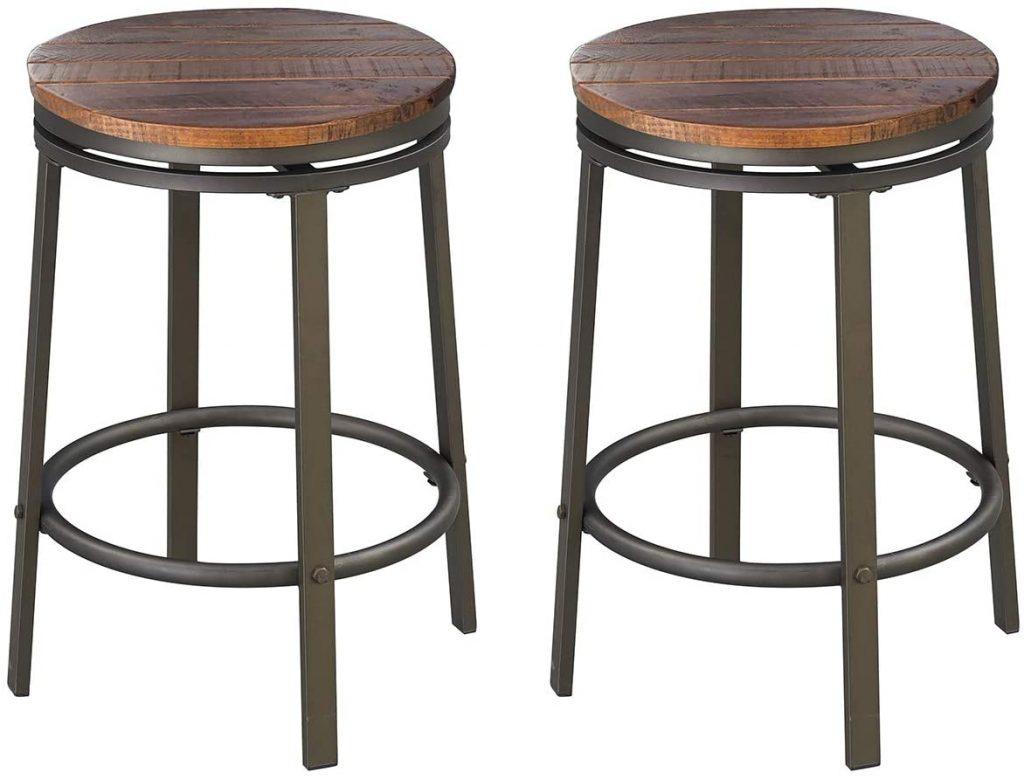 Wooden swivel bar stool