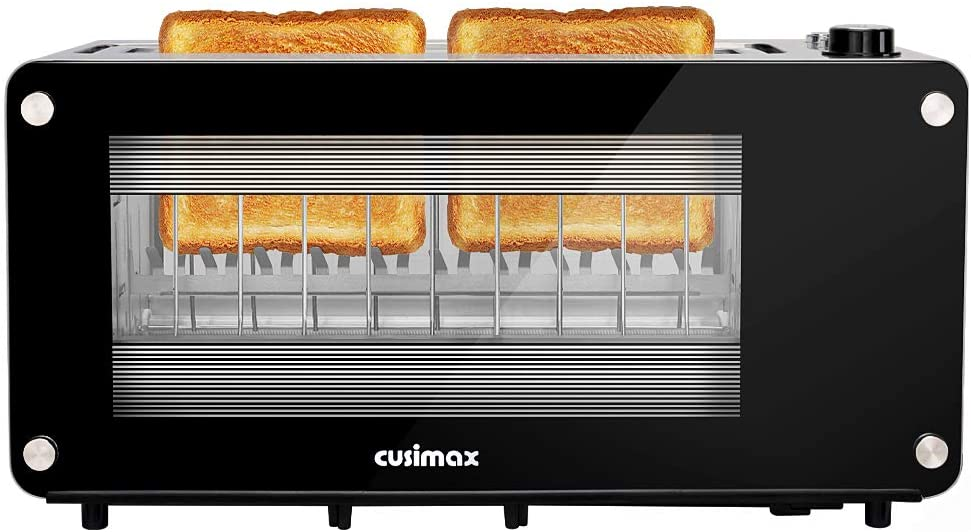 2-slice Cusimax Long Slot Toaster with Transparent Glass Window