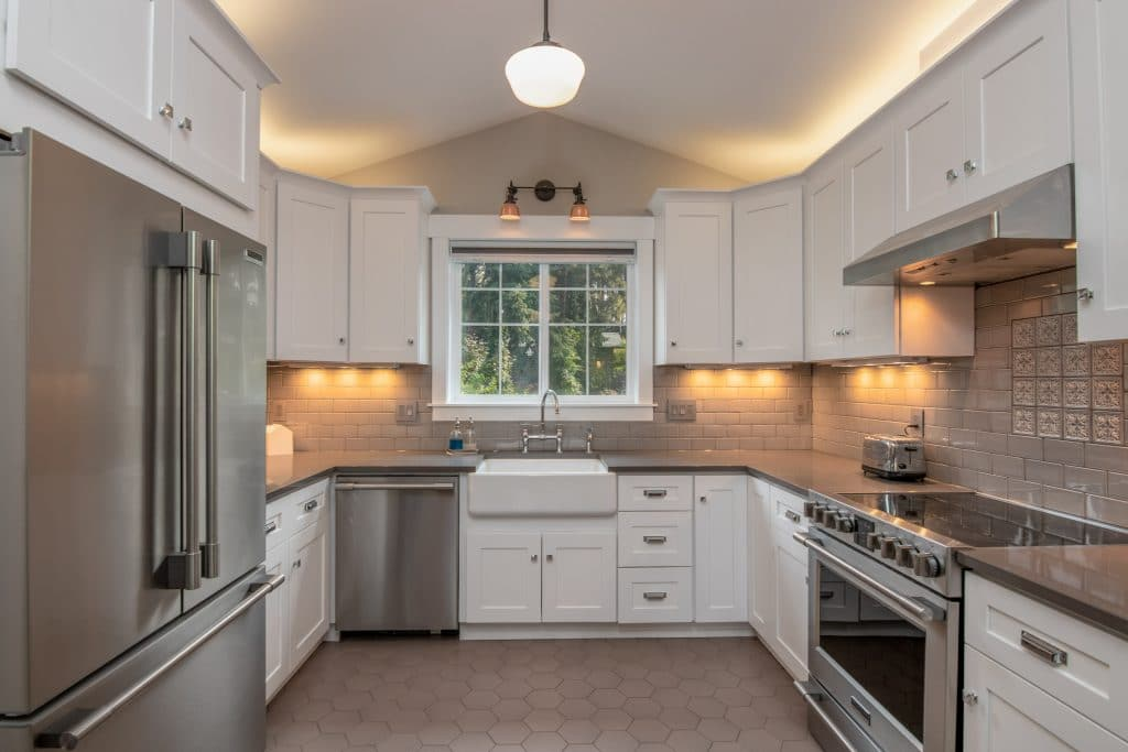 A well-fitted kitchen with cabinets