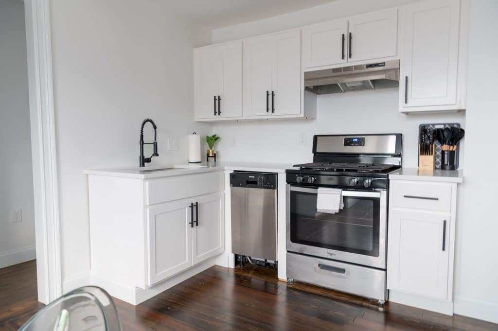 A white wooden cabinets