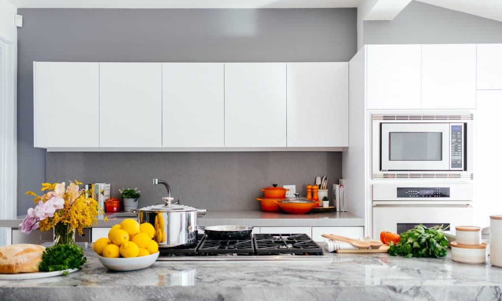 Fitted appliances in a kitchen
