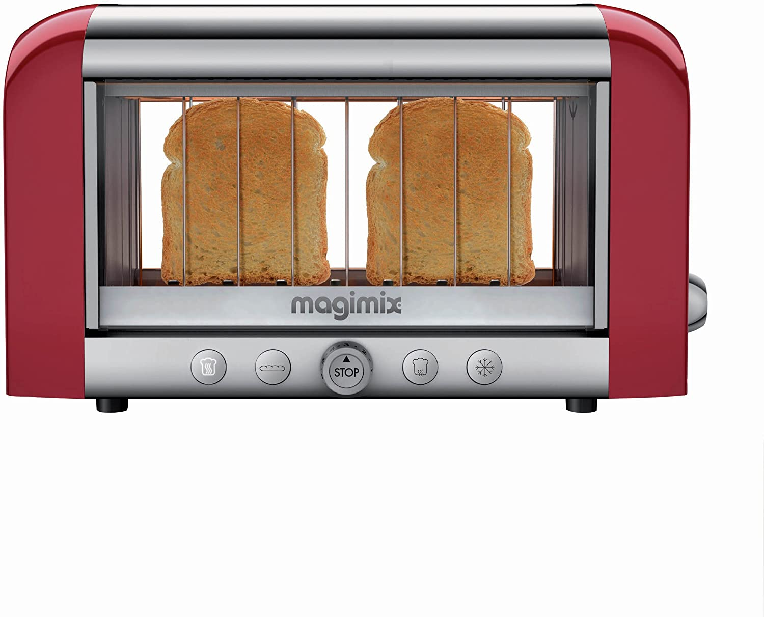 Magimix Toaster Vision Red 1450-watt Glass Toaster