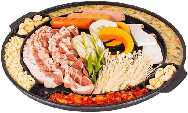 CookKing Non-stick Traditional Korean Master Grill Pan (Best Korean BBQ Grill for cooking multiple dishes)