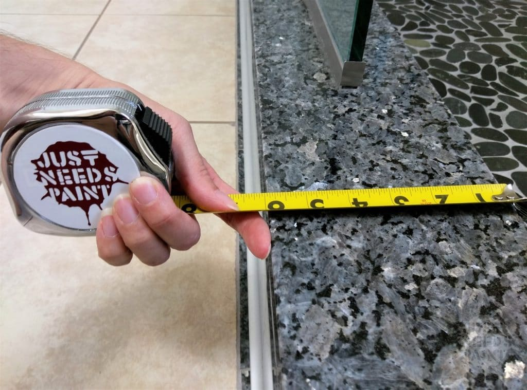 Measuring the size of bathroom tiles