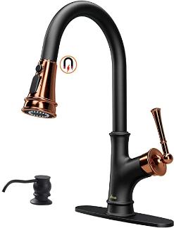 APPASO Matte Black Pull-down Kitchen Faucet with soap dispenser