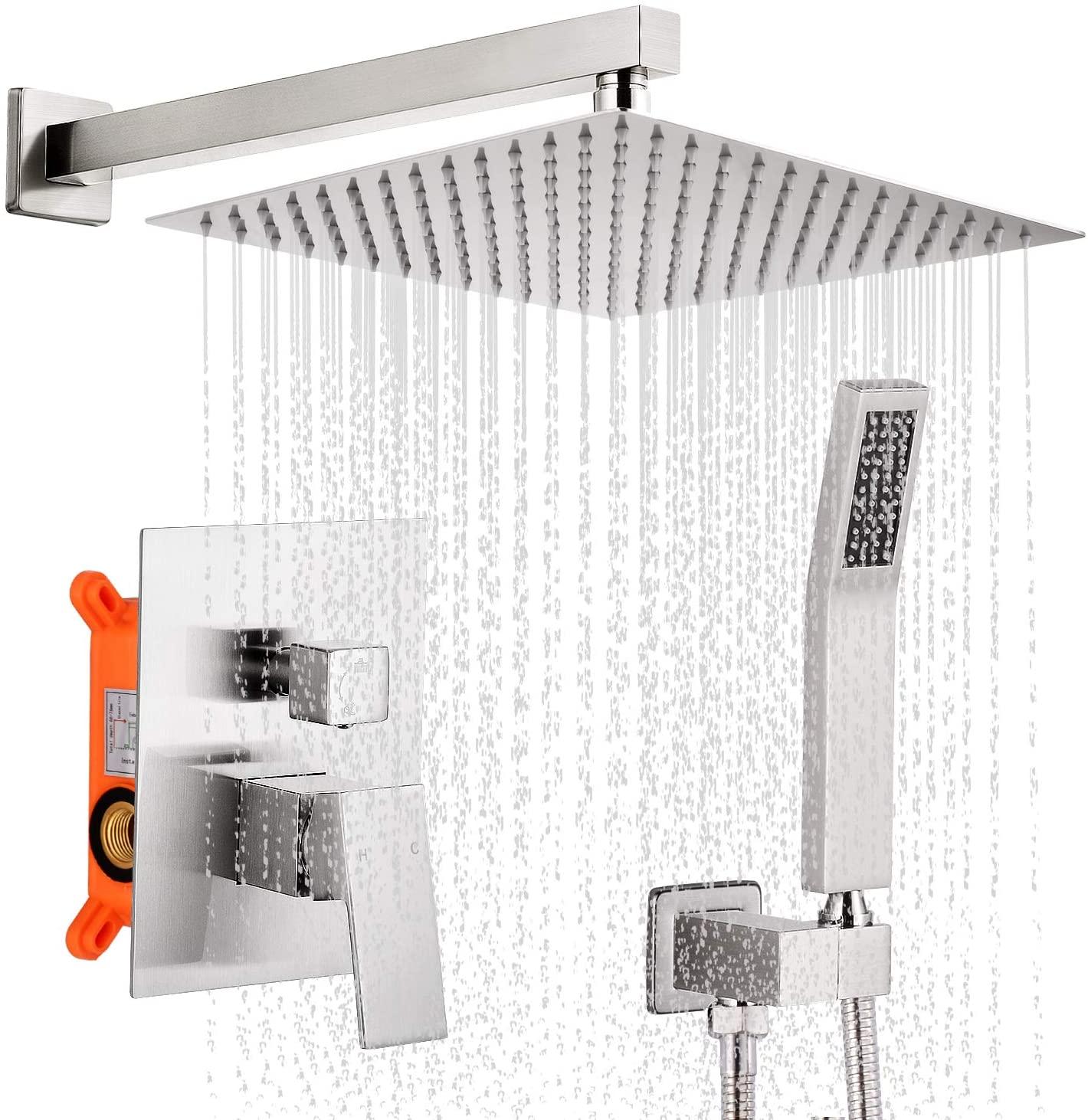 Qomolangma 12 Inch Brushed Nickel Rain Shower