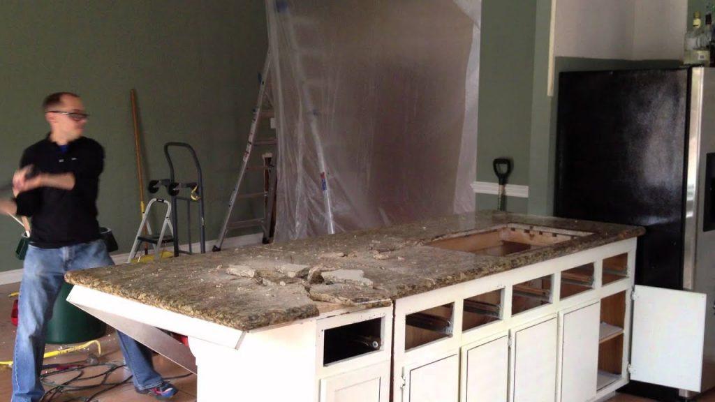 Removing an old granite countertop