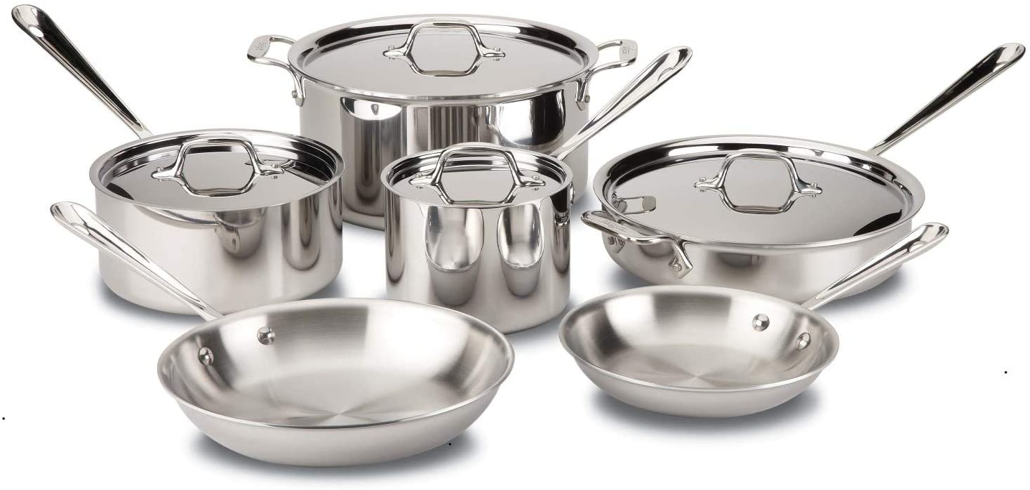 All Clad D3 Tri-ply Stainless Steel Cookware Set with Tempered Glass Lids