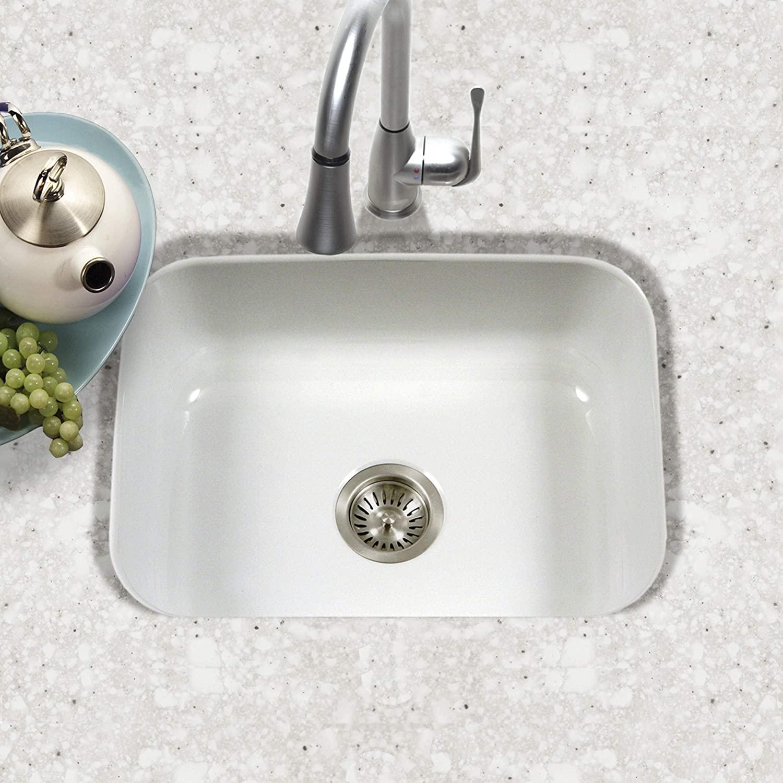 Houzer PCS-2500 WH Porcela Series Porcelain Enamel Steel Undermount Single Bowl Kitchen Sink