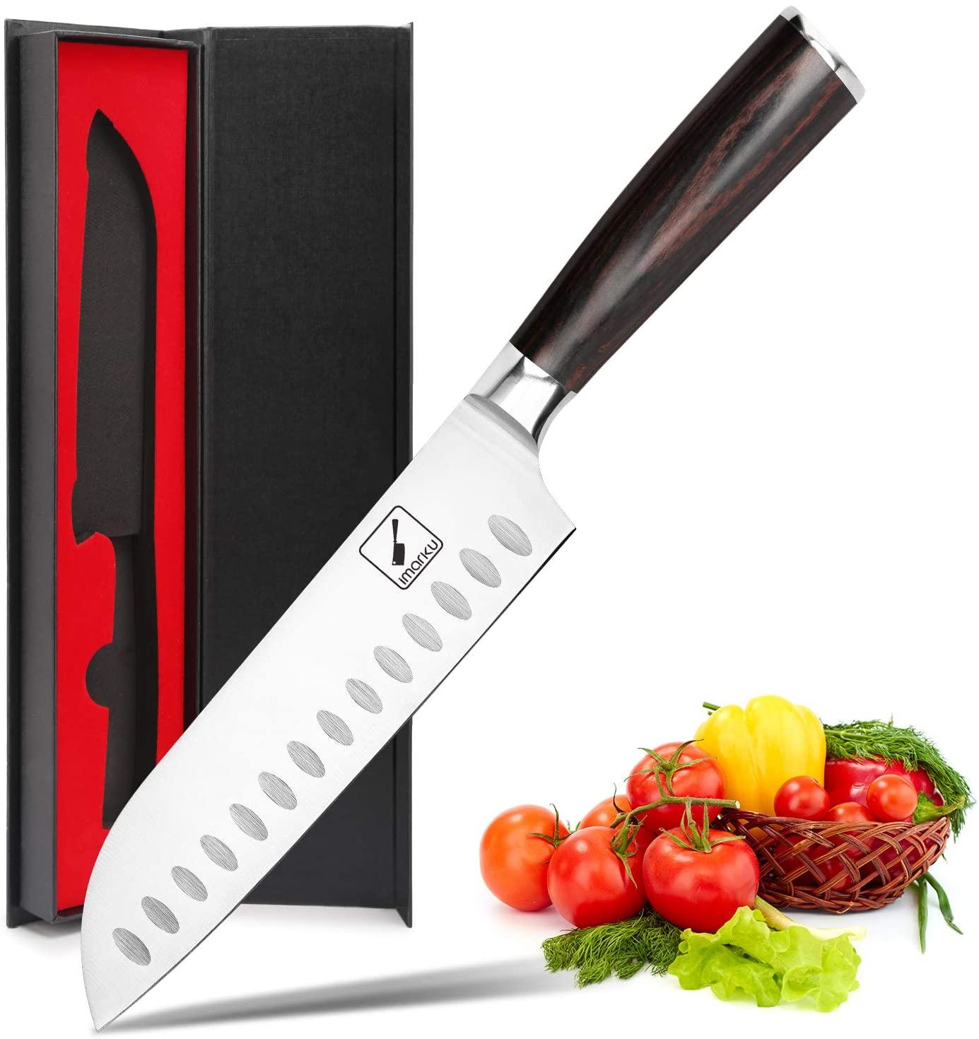 Imarku 7 Inch Santoku Knife With Pakkawood Handle