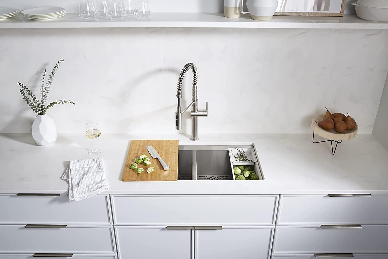 KOHLER Task Kitchen Sink, Stainless Steel Dual Mount Double Bowl