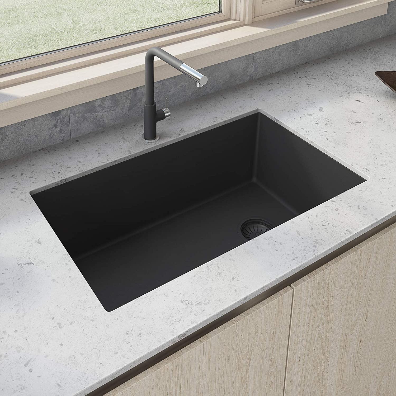 Ruvati 32 x 19 inch Undermount Granite Composite Single Bowl Kitchen Sink