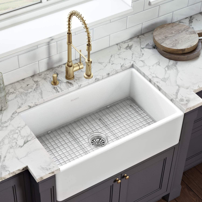Ruvati 33 x 20 inch Fireclay Reversible Farmhouse Apron-Front Kitchen Sink Single Bowl