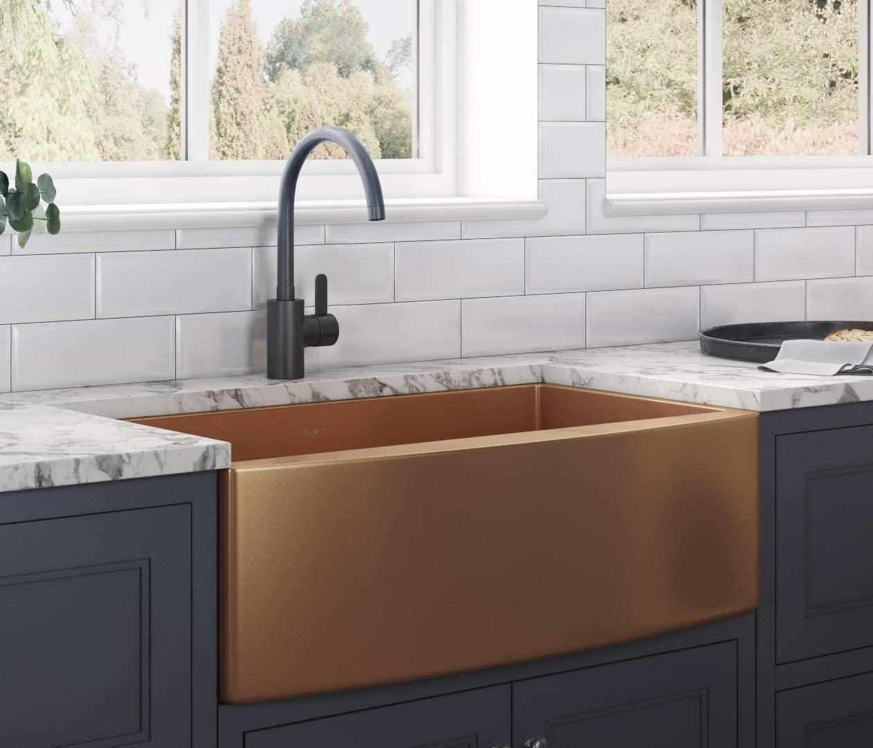 Ruvati Copper Tone 33-inch Apron-Front Farmhouse Kitchen Sink
