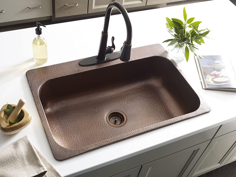 Sinkology SK101-33AC4-AMZ-B Angelico 4-hole Drop Kit with Strainer Drain Kitchen Sink, 33 x 22 x 8, Antique Copper