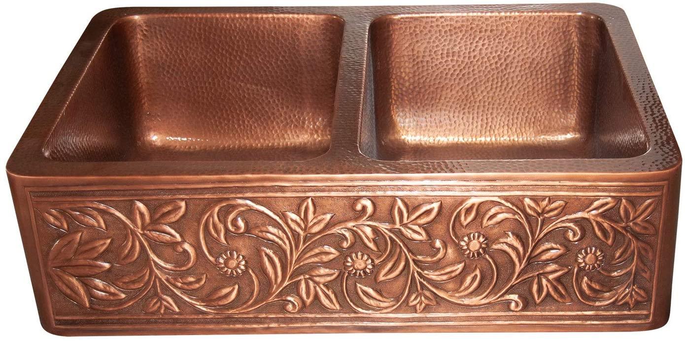 Vine Design Copper Undermount Kitchen Sink