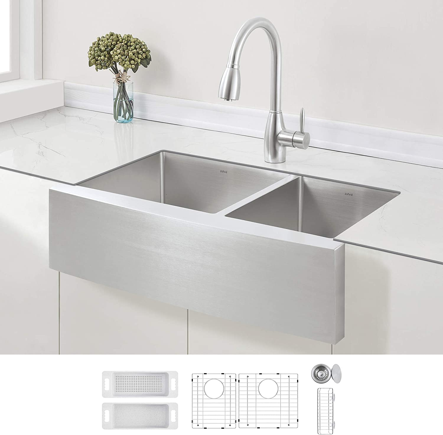 ZUHNE Stainless Steel Double Basin Farmhouse Sink 60/40