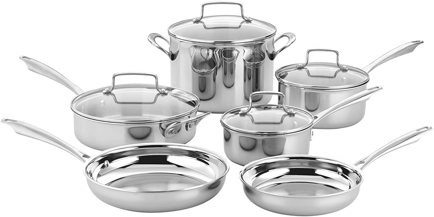 Cuisinart 10 Piece Tri-Ply Classic Stainless Cookware Set