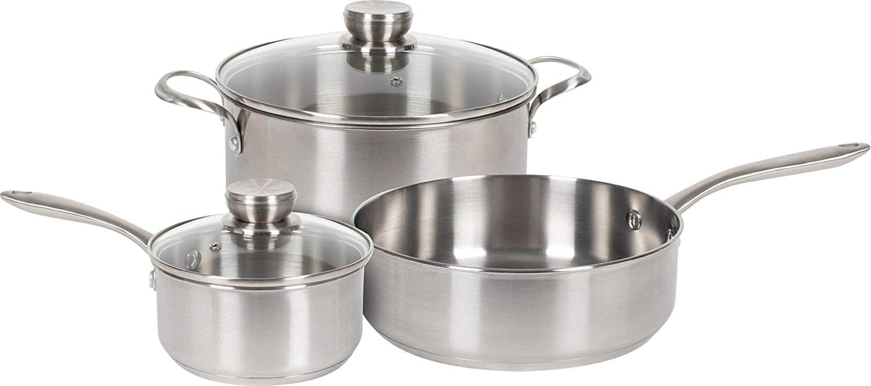 Frigidaire 5 Piece Stainless Cookware Set