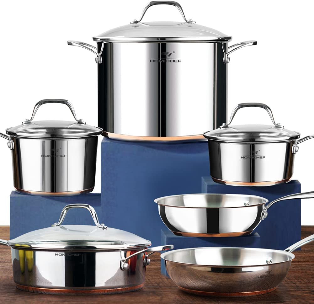 HOMICHEF 10-Piece Nickel Free Pots And Pans Set