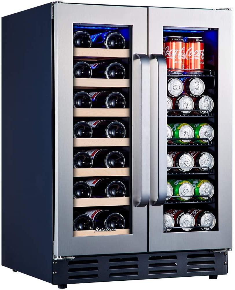 Kalamera Beverage and Wine Cooler 24-Inch with Seamless Steel Door