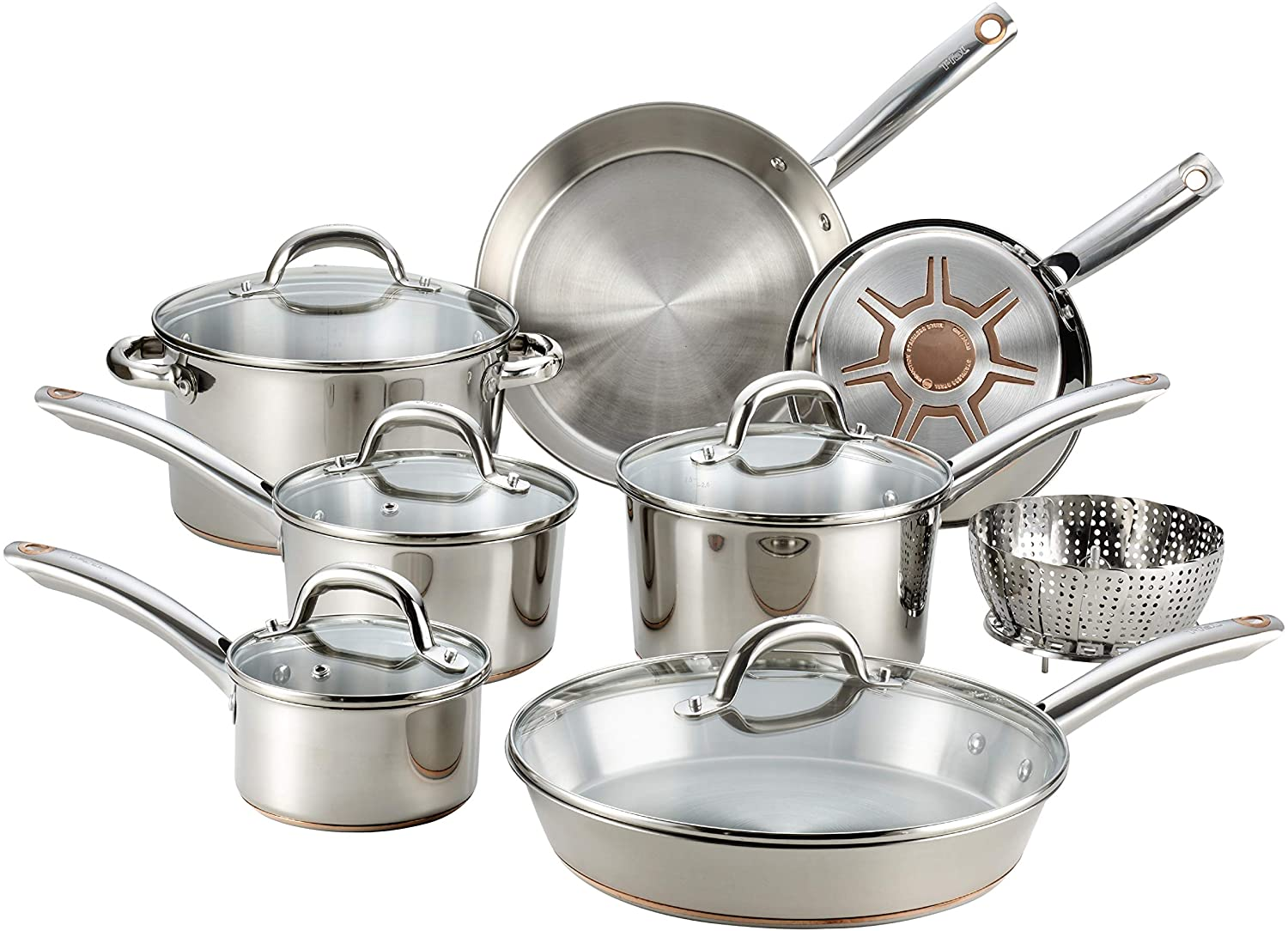 T-fal Copper Bottom Stainless Steel Cookware Set