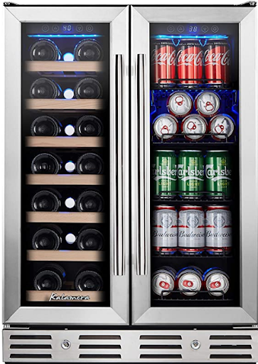 Kalamera 20-bottle & 78-can Dual-zone Wine and Beverage Cooler